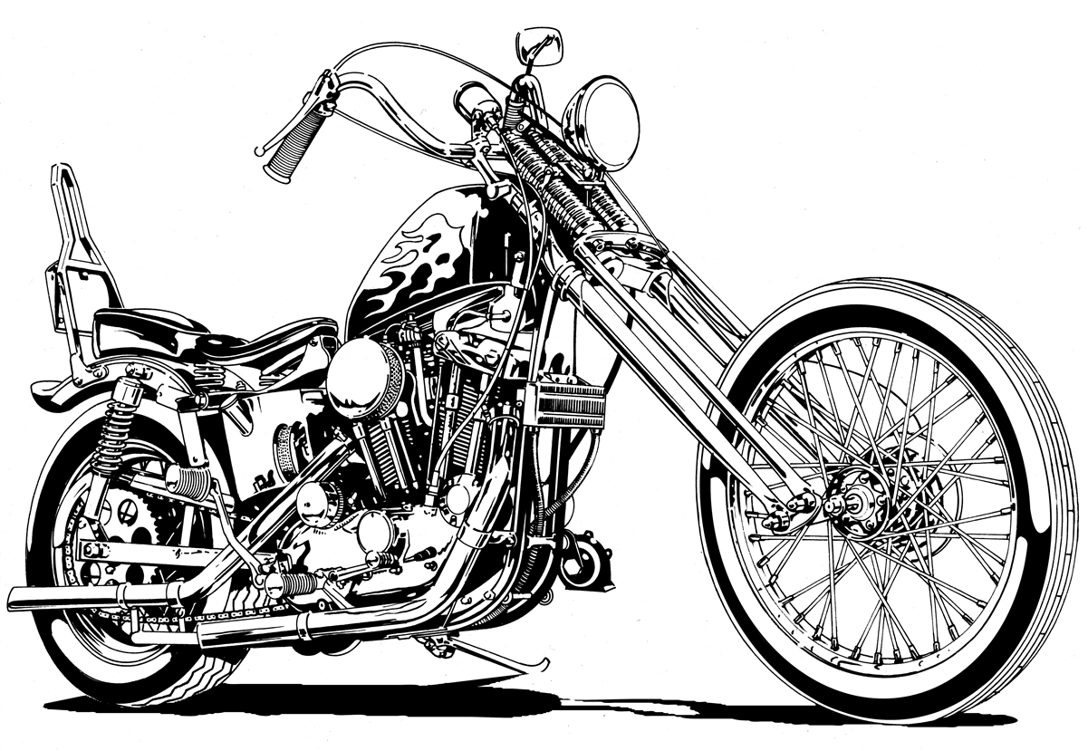 harley sportster chopper motorcycle clipart, high quality illutration for Harley Motorcycle Clipart  155sfw