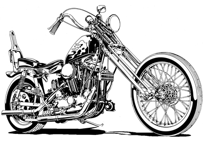 Harley sportster chopper motorcycle clip art