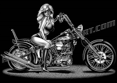 harley chopper with biker chick clip art side view