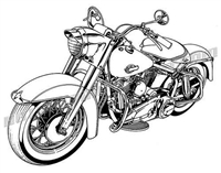 1950's harley davidson motorcycle clip art 3/4 view