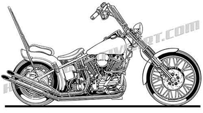 Harley Davidson chopper motorcycle clip art