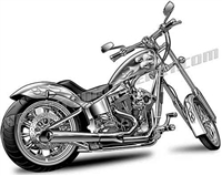 harley davidson chopper motorcycle clip art rear view