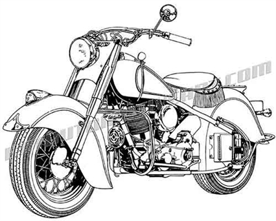 1948 Indian chief motorcycle clip art 3/4 view