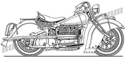 vintage Indian straight 4 motorcycle clip art