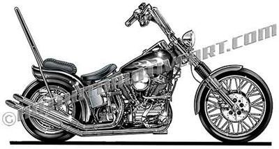 Harley chopper motorcycle clip art