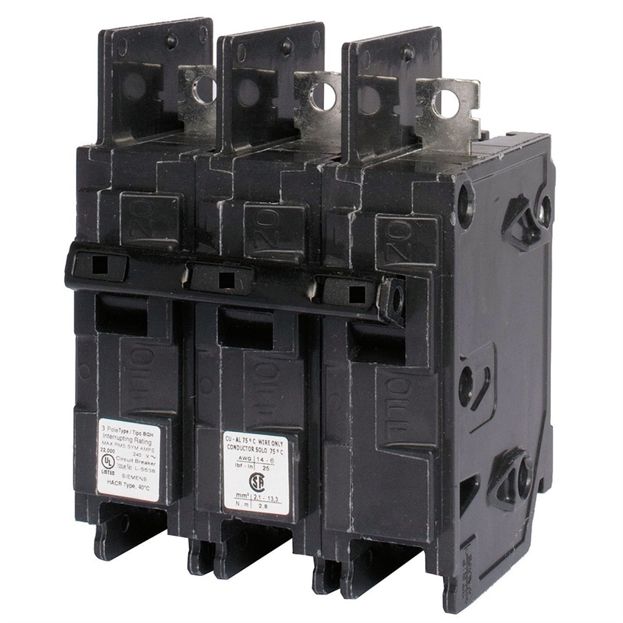Siemens BQ3B020 circuit breaker 3pole 20amp 240v type BQ New  warranty !!