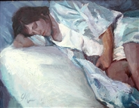 """Blues Day Nap"", Figurative Oil Painting by C.M. Cooper"