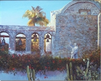 """Awe & Majesty"", California San Juan Capistrano Mission Oil Painting by Bruce Sanford Day"