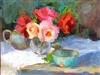 """Red & Pink Roses"", Still Life Oil Painting by Jennifer Hurley"