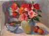 """Roses With Two Peaches"", Still Life Oil Painting by Jennifer Hurley"