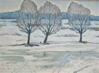 """Three Trees"", Soviet Landscape Oil Painting"