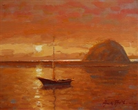 """Sunset, Morro Bay"", Frank LaLumia Oil Painting"