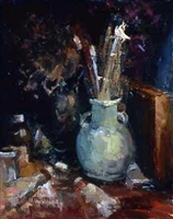 """Vase With Brushes"", Still Life Oil Painting by Paulette Lee"