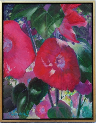 """Hollyhocks II"", Martha Saudek Oil Painting"