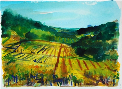 """Grape Orchard"", Zolita Sverdlove (1936-2009) Watercolor Painting"
