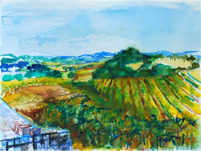 """Grape Orchard II"", Zolita Sverdlove (1936-2009) Watercolor Painting"