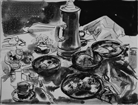 """Brunch"", Zolita Sverdlove (1936-2009) Pen & Ink Drawing"