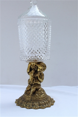 Mid-Century Glass Compote on Cherub Brass Base