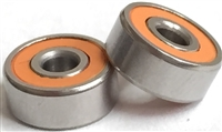 10P-SMR73C-2OS #7 LD, ABEC357, ceramic bearings, 10 pack, 3x7x3 mm,  Ceramic Hybrid ABEC 7 Orange Seal Bearings, Stainless Steel rings/retainer, Ceramic Si3N4 balls, Removable Orange Seals, lube dry, ABEC 7.