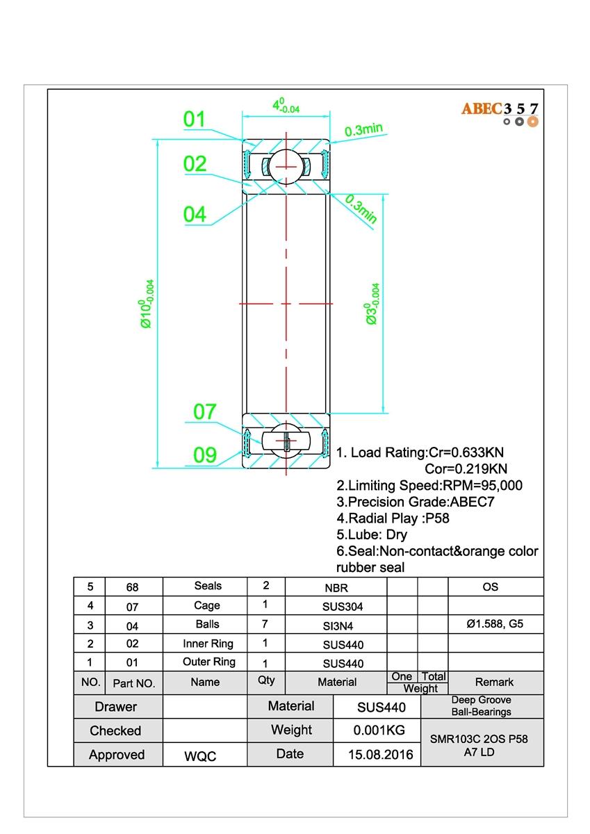 SPOOL GRAPHITE HIGH SPE Bearing Set PENN 525 MAG