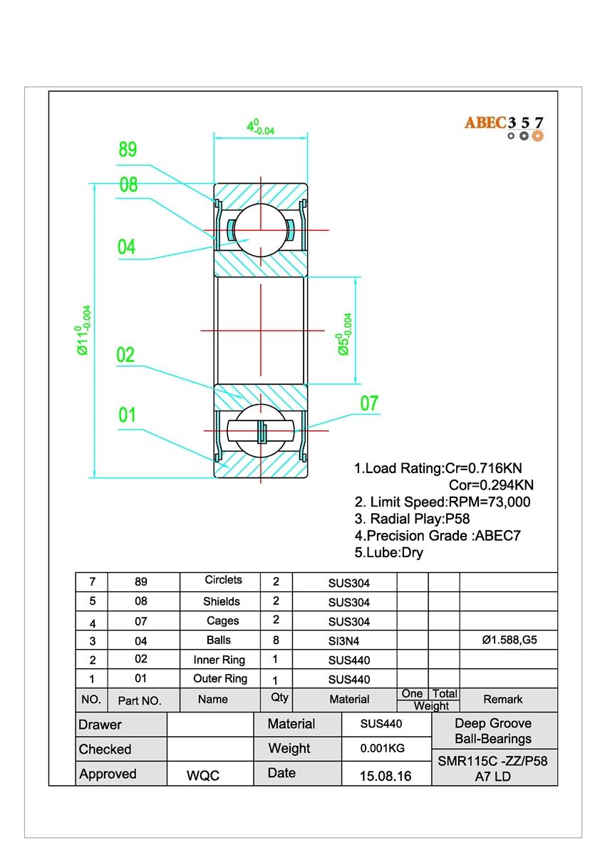 5x11x4 mm Optional ABEC-7 Hybrid Ball Bearings FITs SHIMANO TGT0309 Parts