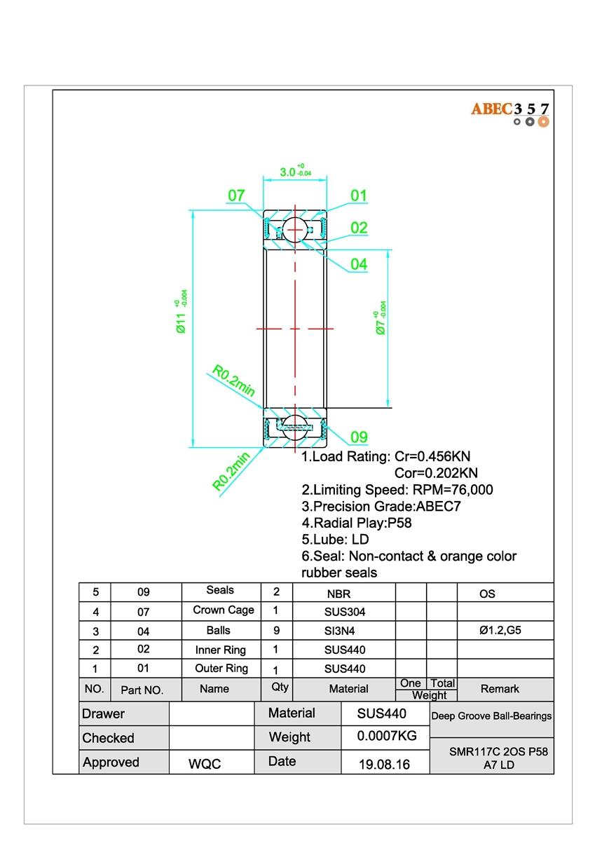 SMR103C-2OS//P58 A7 LD ABEC-7 HYBRID CERAMIC Orange Seal spool bearing 3x10x4