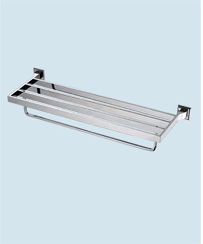 Hotel Style Towel Rack With A Shelf Modernbathroomsca