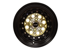 VMS Wheels Revolver 13x9 4X100/114.3 0 ET 73.1 CB Machined Gold Black Lip Chrome Rivets