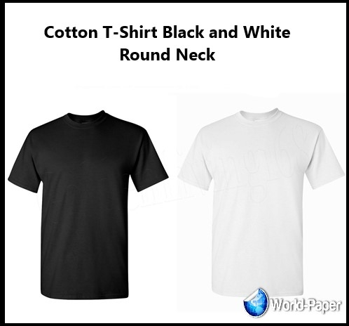 Cotton T-Shirt  Black and White Round Neck