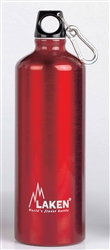 Futura Water Bottle Narrow Mouth Screw Cap with Loop and Carabiner 34oz Red