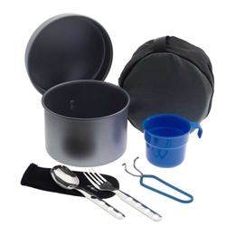 Laken Non-Stick Aluminum Camping Cookware Mess Kit, 42 oz Non-Stick with Cutlery and Cup, 42oz