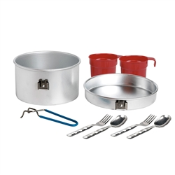 Laken Aluminum Camping Cookware Mess Kit, 53 oz with 2 Sets of Cutlery and Cup, 53oz