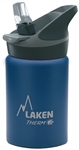 Laken Thermo Jannu Vacuum Insulated Stainless Steel Water Bottle Wide Mouth with Straw Cap 12oz Blue