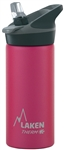 Laken Thermo Jannu Vacuum Insulated Stainless Steel Water Bottle Wide Mouth with Straw Cap 17oz Fuchsia