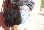 Vintage Leather Purse with Fringe