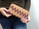 Chevron Print Wallet Orange