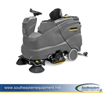 New Karcher B 150 R Bp 2SB Ride-On Floor Scrubber - R 90 cylindrical scrub deck, 36V/360 Ah batteries, dual side brushes.