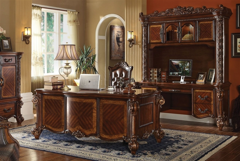 Warm Cherry Executive Desk Home Office Collection: Vendome Executive Home Office Desk In Cherry Finish By