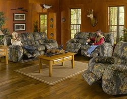 Lodge 2 Piece Manual Recline Sofa Set In Camouflage Cover