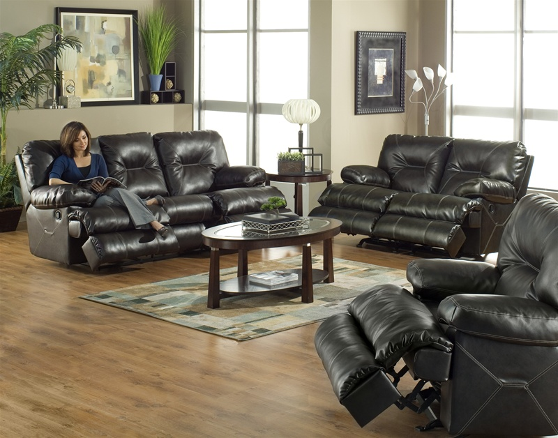 Cortez Dual Reclining Sofa In Dark Brown Leather By