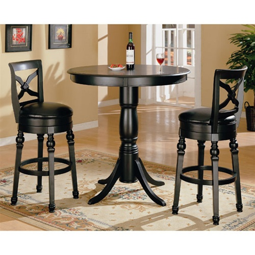 Black Bar Set: Black Finish Round Top Counter Height 3 Piece Bar Table