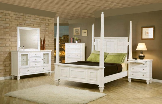 6 Piece Sandy Beach Bedroom Set With Poster Bed In White