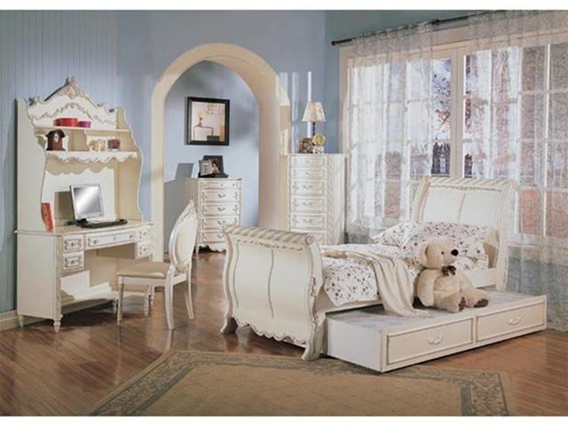 4 piece alexandria sleigh bed bedroom furniture set in - White and gold bedroom furniture set ...
