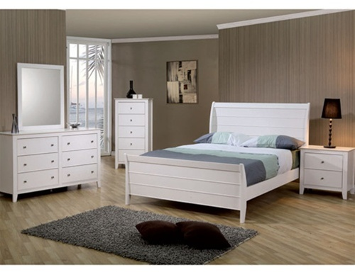 Sandy Beach Youth 4 Piece Sleigh Bedroom Furniture Set In