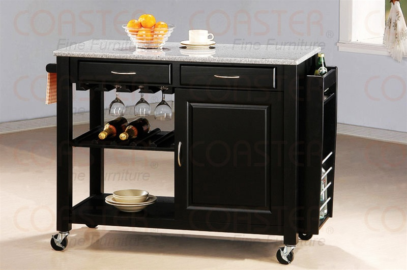 black kitchen island with granite top and wheels by coaster, Kitchen design