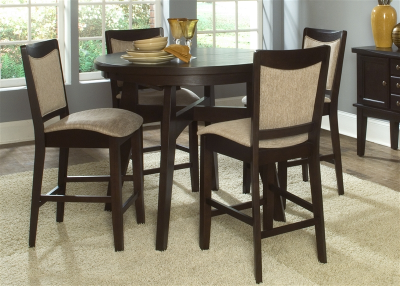 pub dining room table sets | Ashby Oval Pub Table 5 Piece Dining Set in Espresso Finish ...