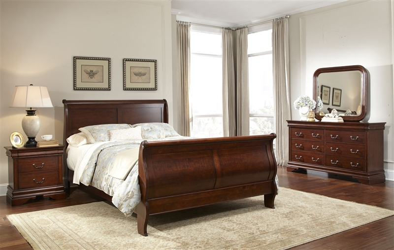 King Size Bed Sets For Sale Carriage Court Sleigh Bed 6 Piece Bedroom Set in Mahogany ...