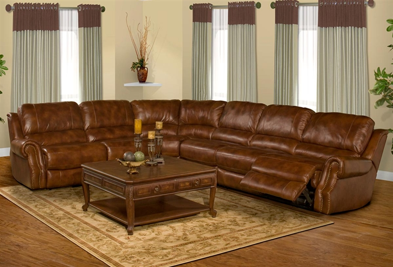 Zeus Coffee Leather 6 Piece Reclining Sectional By Parker