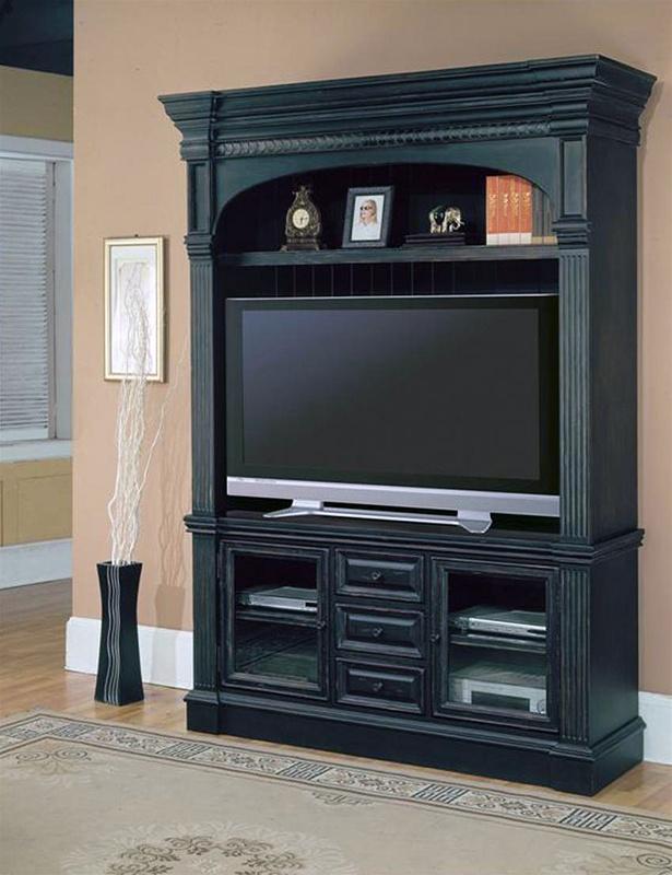 venezia 60 inch tv 3pc entertainment center in distressed vintage black finish by parker house. Black Bedroom Furniture Sets. Home Design Ideas