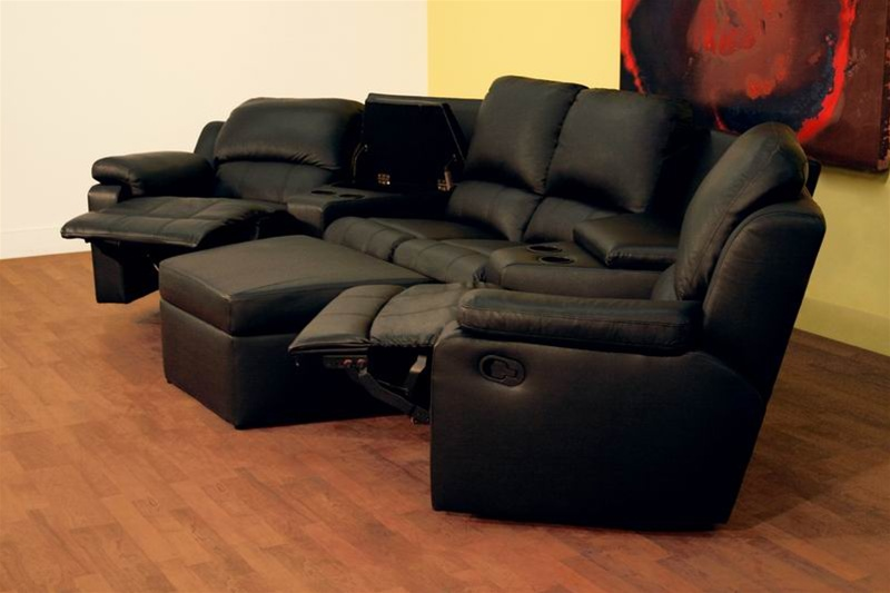 Boden 7 Piece Black Leather Theater Seating Sectional By